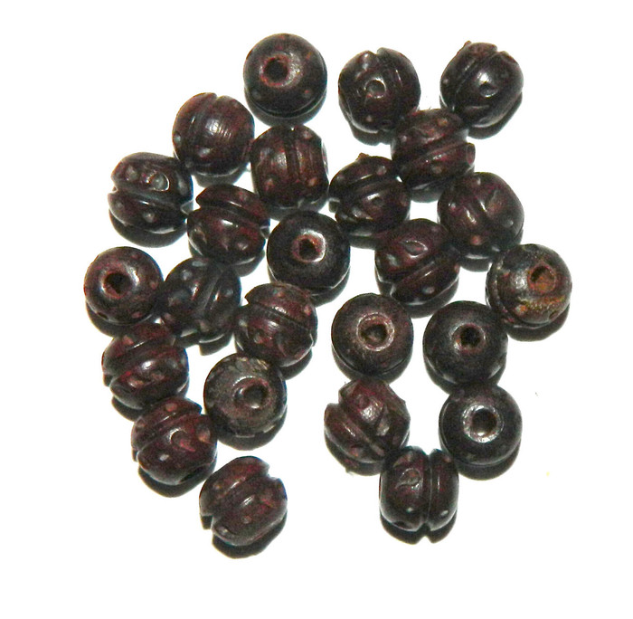 24 Hand Carved Wood Beads 2.5m Hole 10mm Round