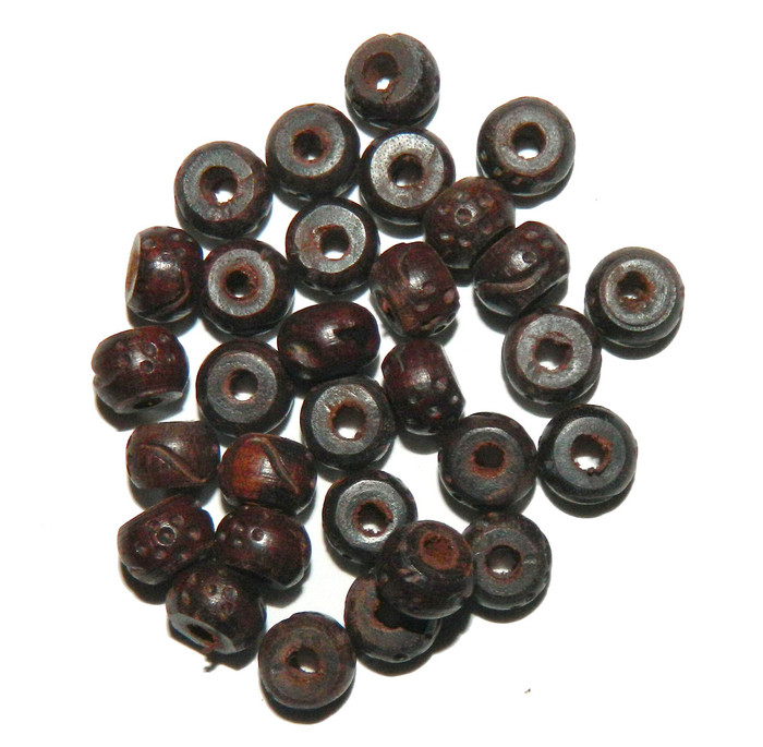 24 Hand Carved Wood Beads 3mm Hole 10x7mm Semi Round