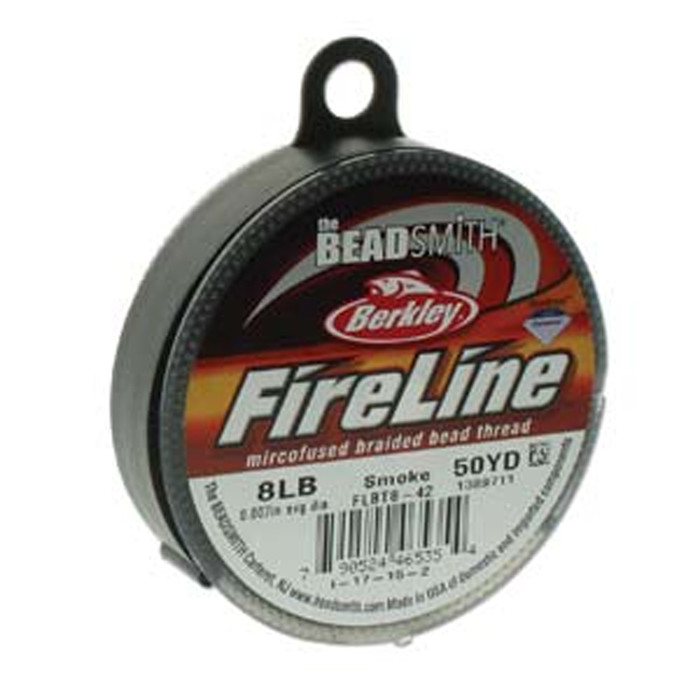 "8lb BeadSmith Burkley FireLine Braided Bead Thread .007"" .17mm Smoke Grey"