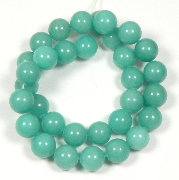 "10mm Amazonite Dyed Round Beads 15"" Loose Stand Gemstone tone"