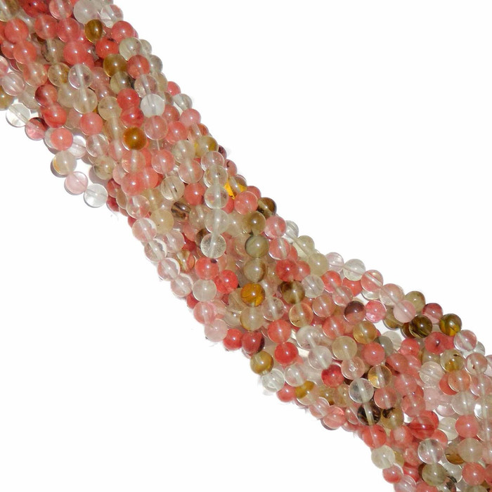 "8mm Fire Cherry Quartz Manmade Gemstone Round Beads 15"" Loose Strand"
