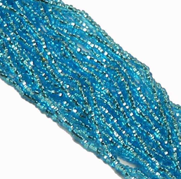 Aqua Blue Silver Lined Czech 8/0 Glass Seed Beads 12 Strand Hank Preciosa
