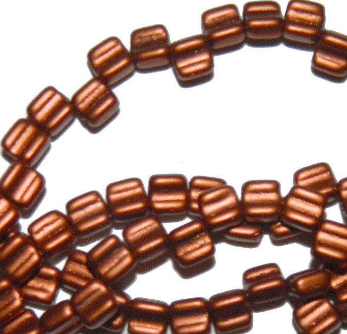 Groovy 6mm Czchmate Glass Czech Two Hole Bronze Fire Red 40 Beads