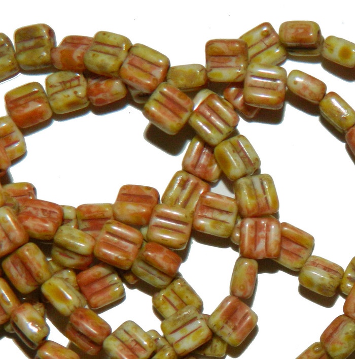 Groovy 6mm Czchmate Glass Czech Two Hole Chalk Dk Travertine 40 Beads