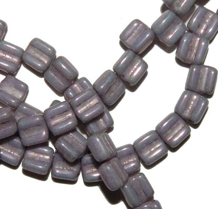Groovy 6mm Czchmate Glass Czech Two Hole Chalk Purple Vega 40 Beads