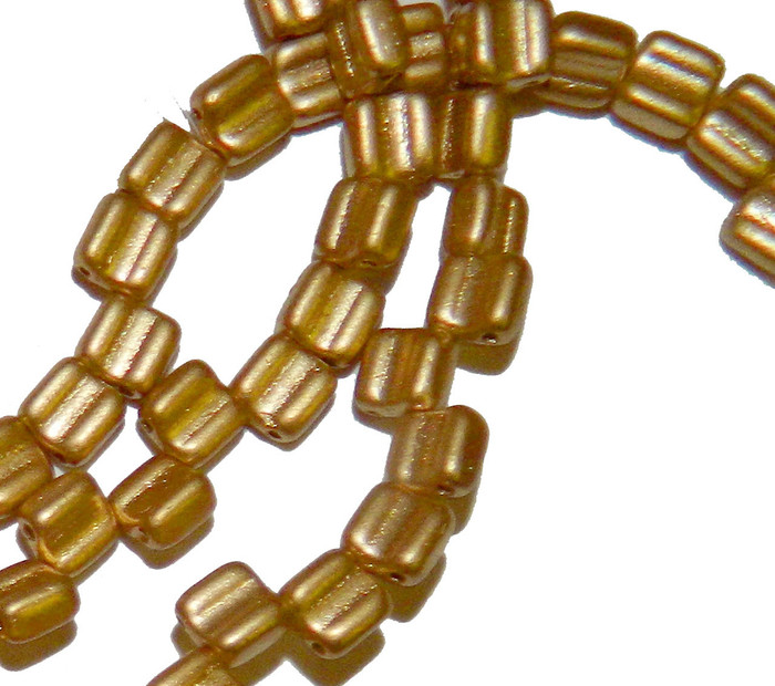 Groovy 6mm Czchmate Glass Czech Two Hole Bronze Pale Gold 40 Beads