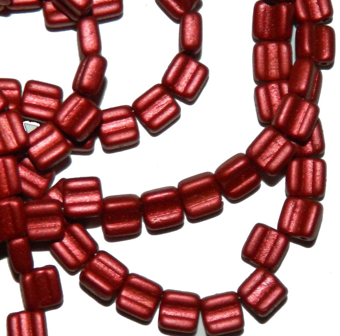 Groovy 6mm Czchmate Glass Czech Two Hole Chalk Lava Red 40 Beads