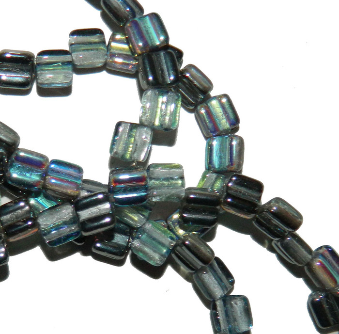 Groovy 6mm Czchmate Glass Czech Two Hole Crystal Graphite Rnbw 40 Beads