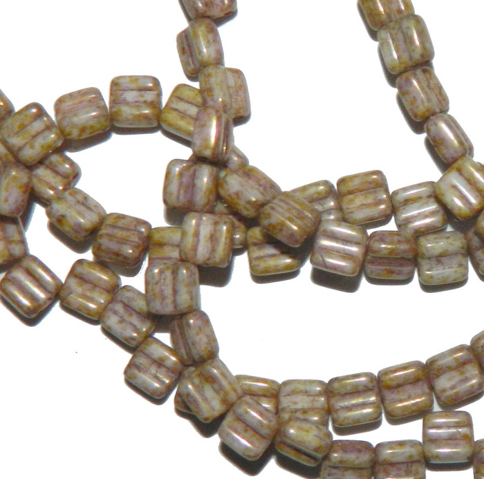 Groovy 6mm Czchmate Glass Czech Two Hole Chalk Senegal Brwn 40 Beads