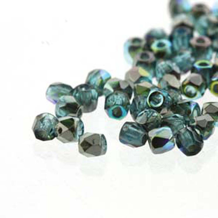 Fire Polish True2s 2mm Czech Glass Aqua Graphite Rnbw 2 Grams 180 beads