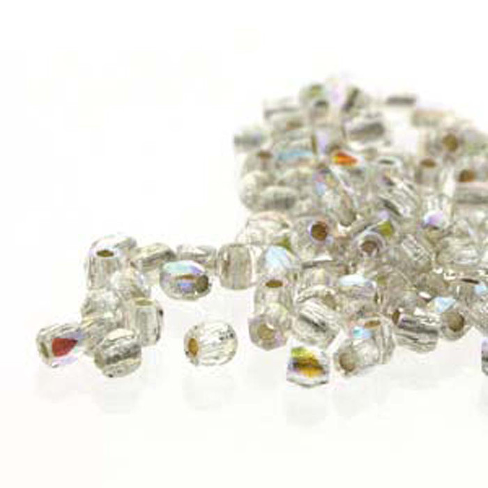 Fire Polish True2s 2mm Czech Glass Crys Ab Silver Lined  600 Beads