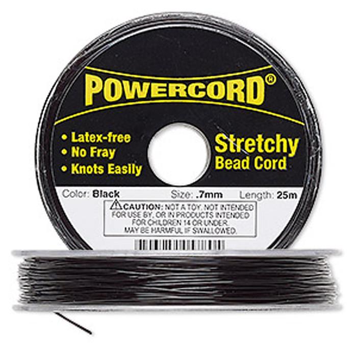 Powercord® Elastic Stretch Cord Black 0.7mm 7-lb Test 25-Meter Latex-Free