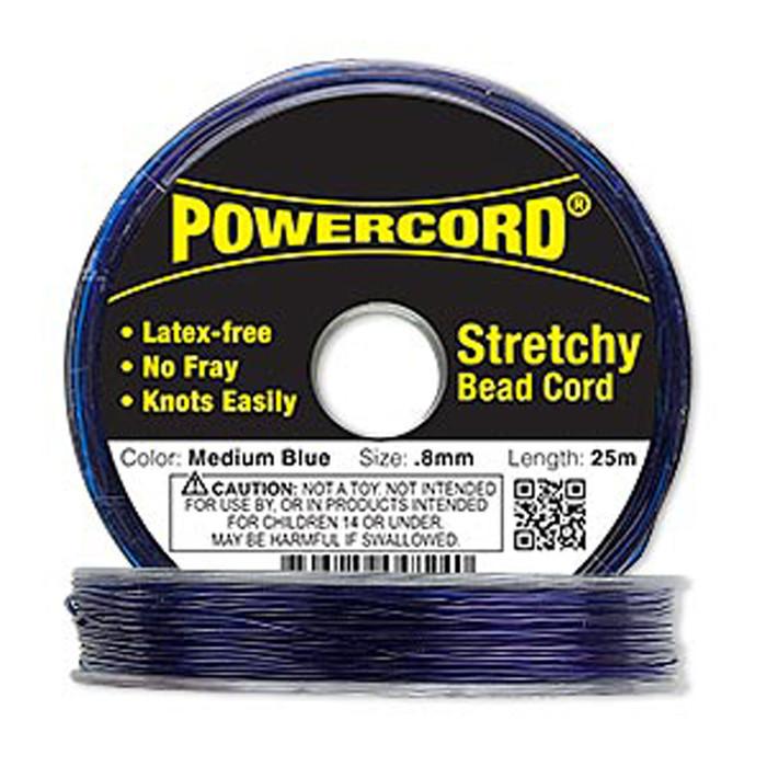 Powercord® Elastic Stretch Cord Blue 0.8mm 8.5-lb Test 25-Meter Latex-Free