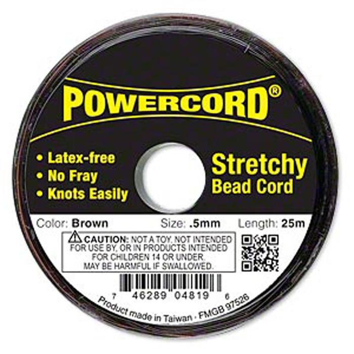 Powercord® Elastic Stretch Cord Brown 0.5mm 4-lb Test 25-Meter Latex-Free