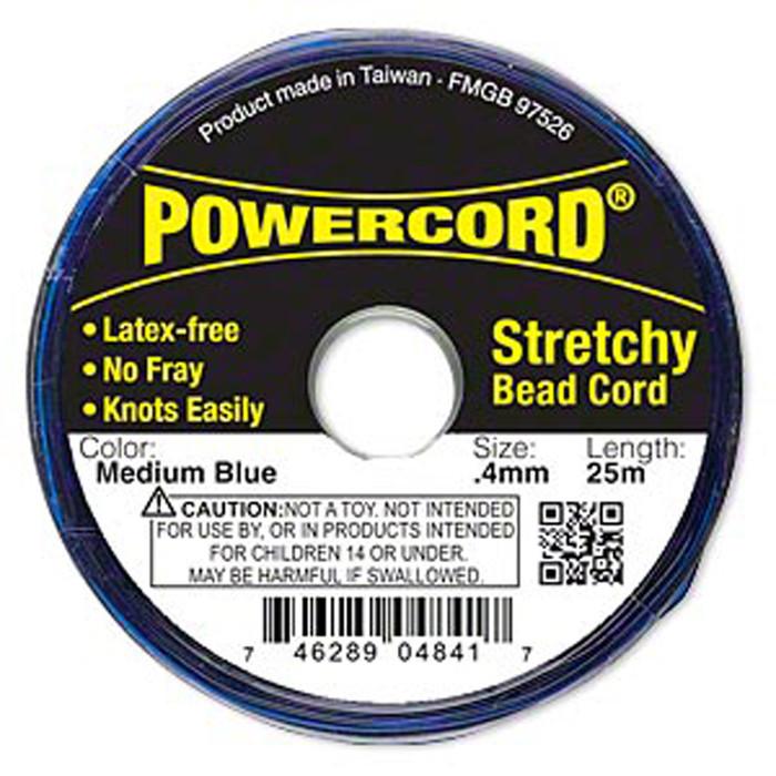 Powercord® Elastic Stretch Cord Blue 0.4mm 3.5-lb Test 25-Meter Latex-Free