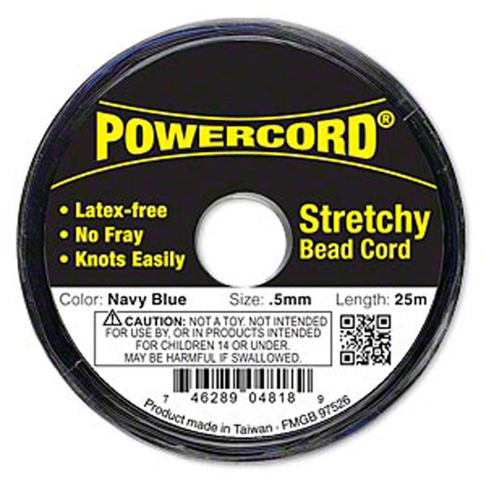 Powercord® Elastic Stretch Cord Navy Blue 0.5mm 4-lb Test 25-Meter Latex-Free