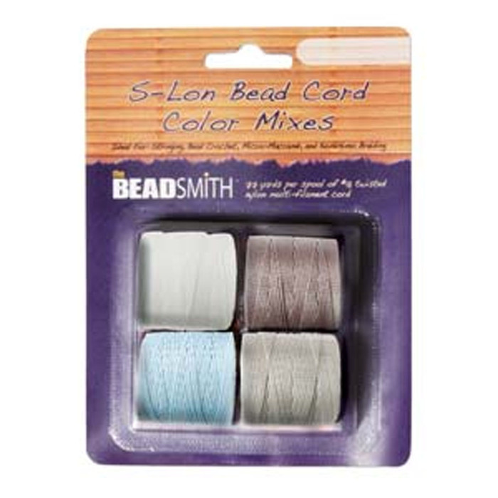 4 Spools Super-lon #18 Nylon Beading Jewelry Stringing Cord S-lon Apparition Mix