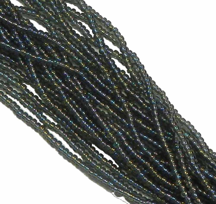 Black Diamond (Smoke) Ab Czech 8/0 Glass Seed Beads 12 Strand Hank Preciosa