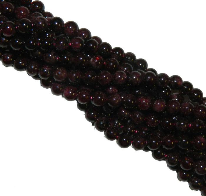 6mm Garnet Gemstone Round beads 15 Inch Loose Strand