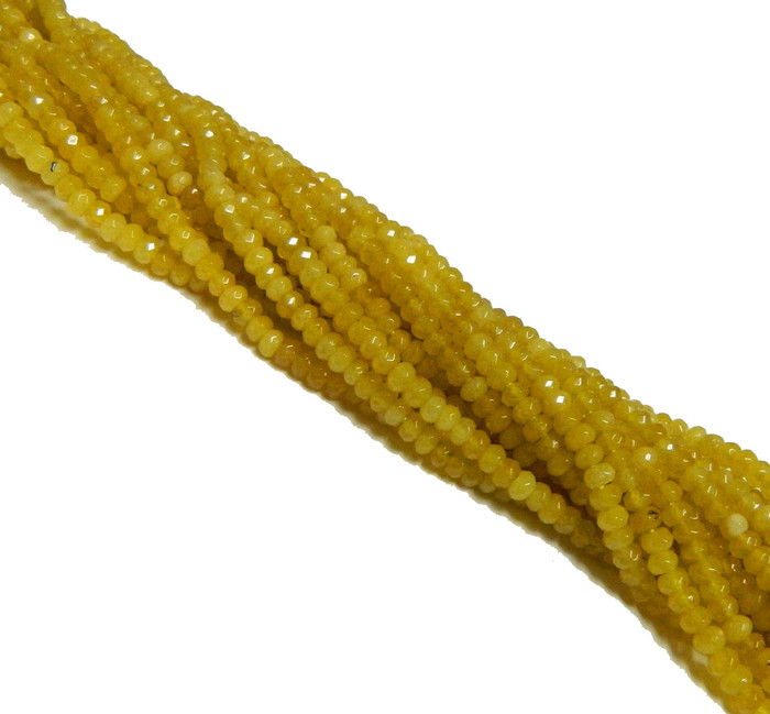 4mm Yellow Chalcedony Faceted Dyed Gemstone Rondelle Beads 15 Inch Loose