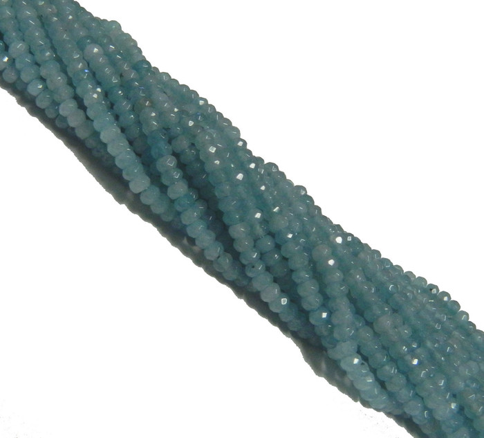 Amazonite 4mm Faceted Dyed Gemstone Rondelle Beads 15 Inch Loose