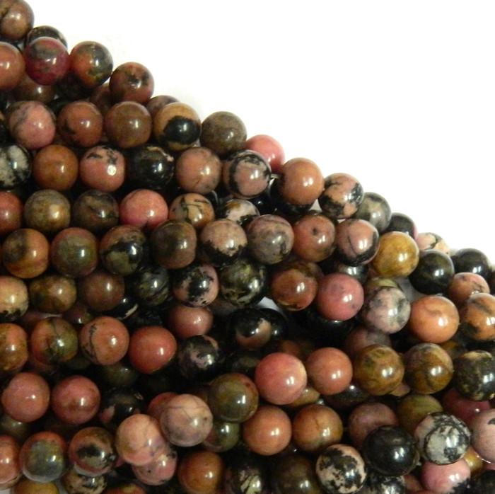 Rhodonite 10mm Natural Gemstone Rondelle Beads 15 Inch Loose