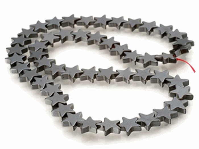 6mm Hematite Manmade Star Beads 15 inch Loose Srand