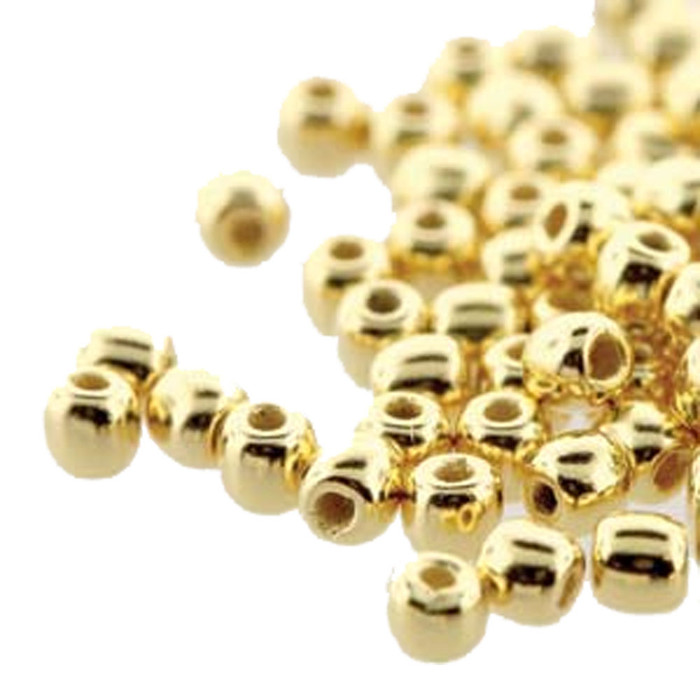 Round Druk True2s 2mm Czech Glass 24K Gold Plate 600 Beads-Loose