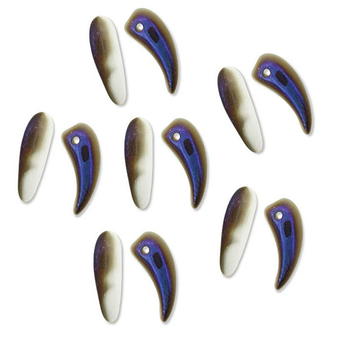 Azuro Tooth Glass Czech Beads 6x16mm 22 Piece Strand