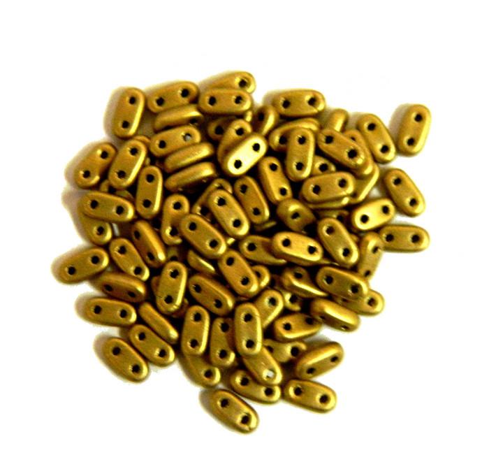 Metallic Antique Gold Matte Seed Bead Bar Czech Glass CzechMate Beads 9.5 grams 6x3mm 2mm Thick