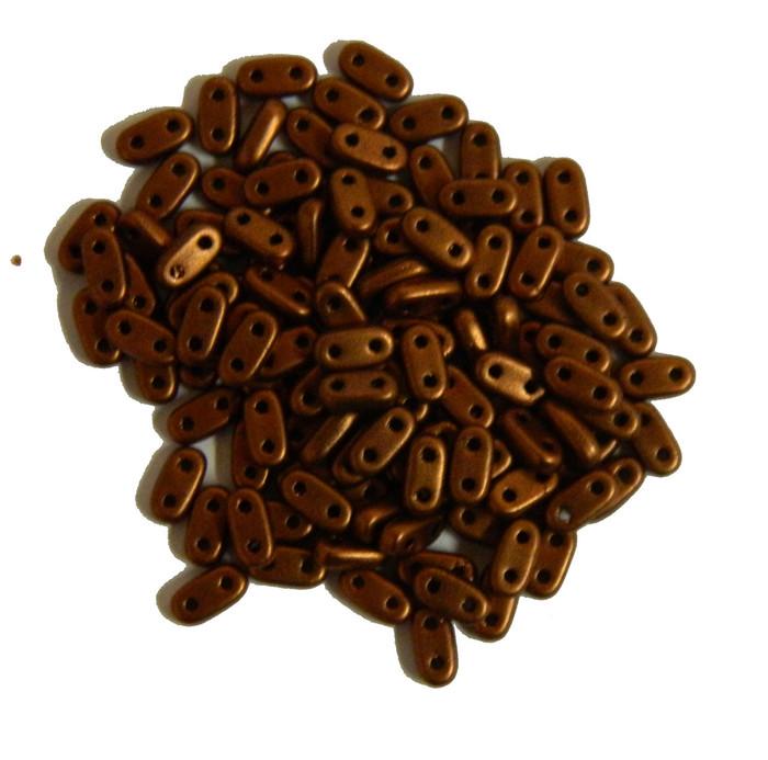 Metallic Antique Copper Matte Seed Bead Bar Czech Glass CzechMate Beads 9.5 grams 6x3mm 2mm Thick