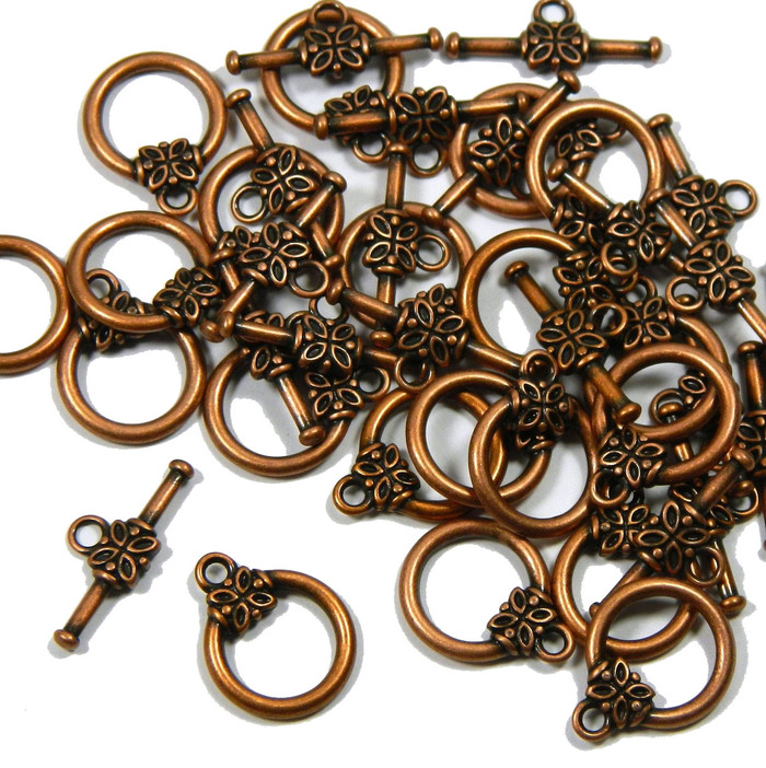 19 Antiqued Copper Plated Brass Jewelry Toggle Clasps 14mm Flower Design