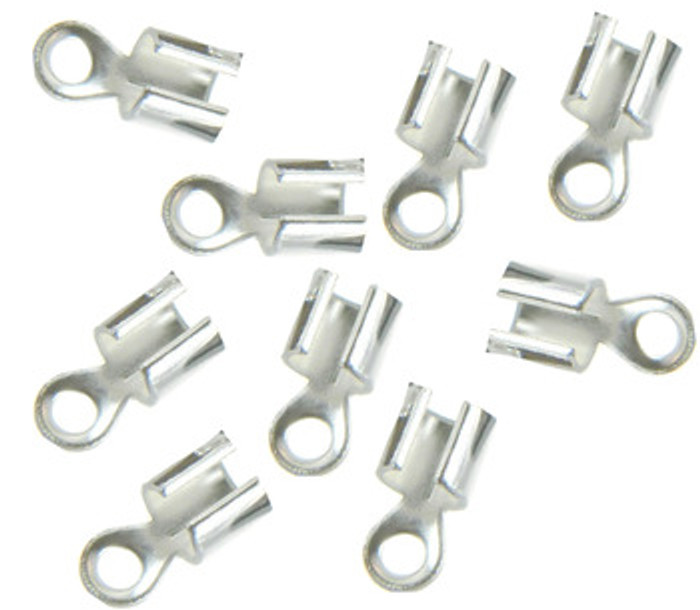 15 Silver Plated Brass Cord Tip Ends Silver-plated Brass 10x5mm