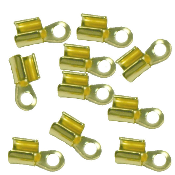 15 Gold Plated Brass Cord Tip Ends Silver-plated Brass 10x5mm 3mm to 5mm