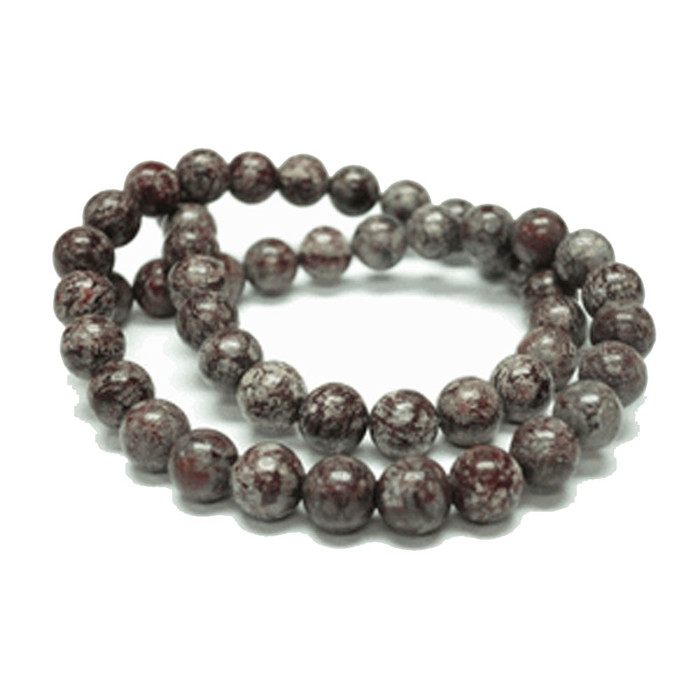 8mm Brown Snowflake Round Gemstone Round Beads 15 inch loose Strand