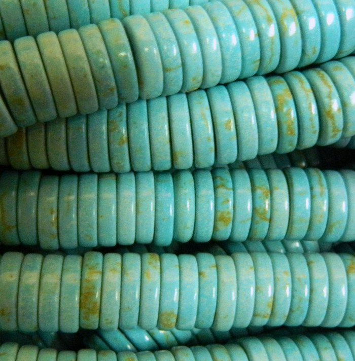 12x3mm Blue Turquoise Gemstone Round Beads 15 inch loose Strand