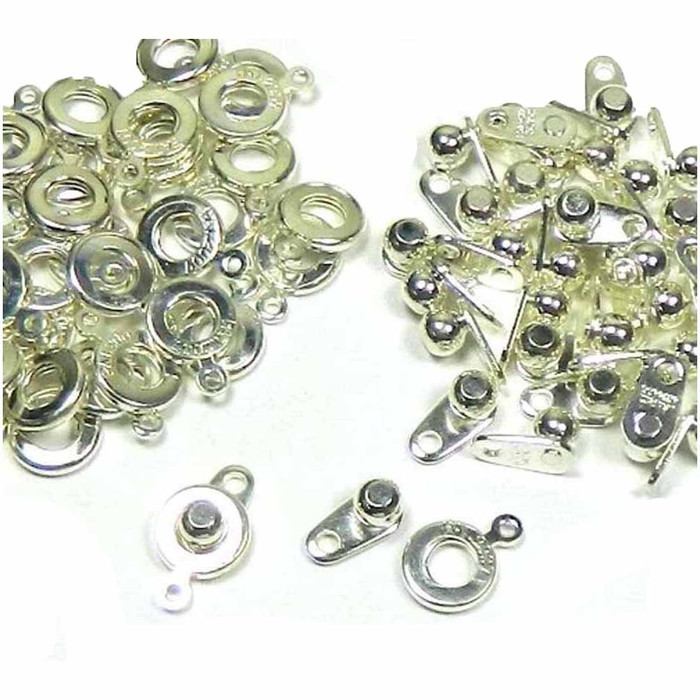 Premium Weight Ball & Socket Clasp 6mm Silver 36 Clasps Findings