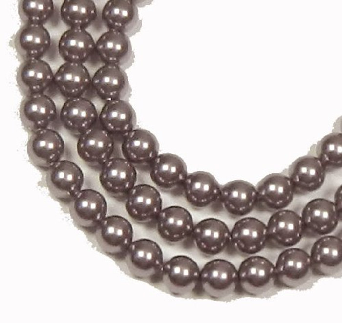 "100 Swarovski Crystal Pearls 4mm Round Beads 5810. 16"" Loose Strand Mauve"