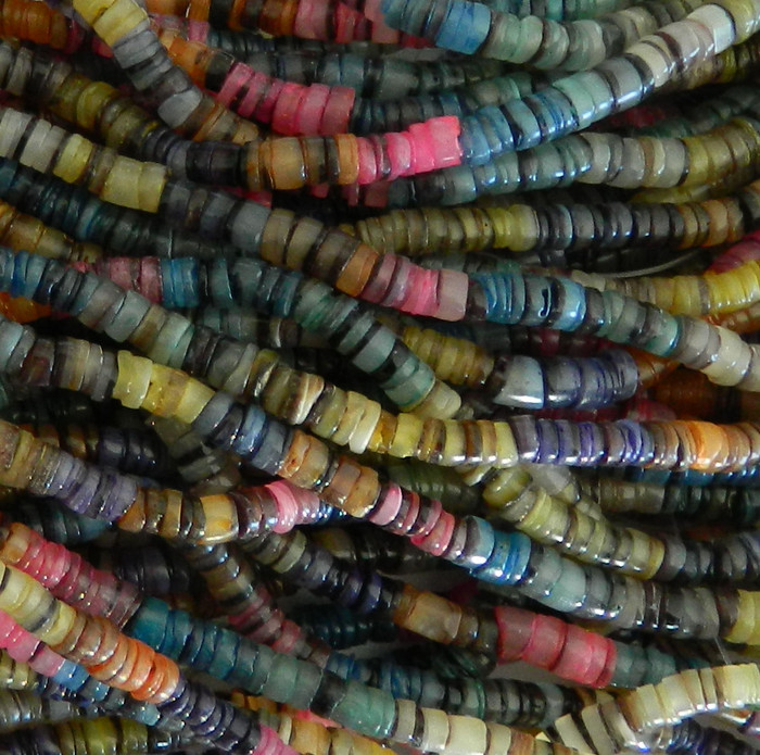 4-5mm Mother of Pearl Beads 24 Inch Loose Strand  Rainbow Hammer Shell Heishi