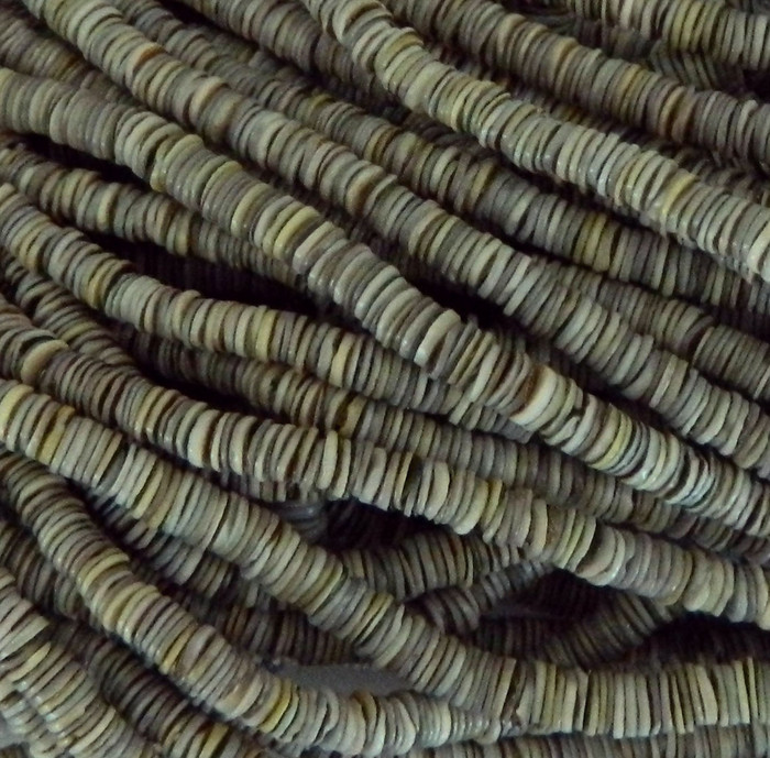 4-5mm Mother of Pearl Beads 24 Inch Loose Strand Gray Grren Shell Heishi Brown