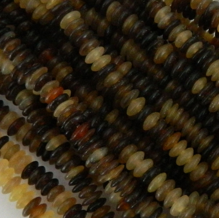 "6mm Genuine Natural Horn Rondelles Beads Aprx 15"" Loose Strand"