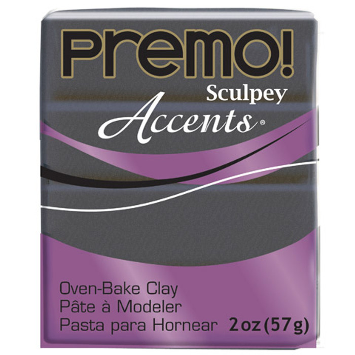 Sculpey Premo Accents Polymer Clay 2oz Graphite Pearl