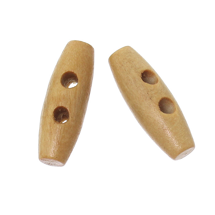 100 Small Wood Toggle Buttons 3/4 x 1/4 Inch