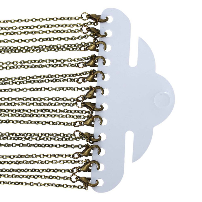12 Pack Antique Gold/Brass Plated 2mm Cable Chain 30-3/8 Inch