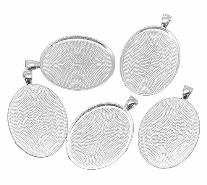 10 Shiny Silver Plated 40x30nm Bezel Cup