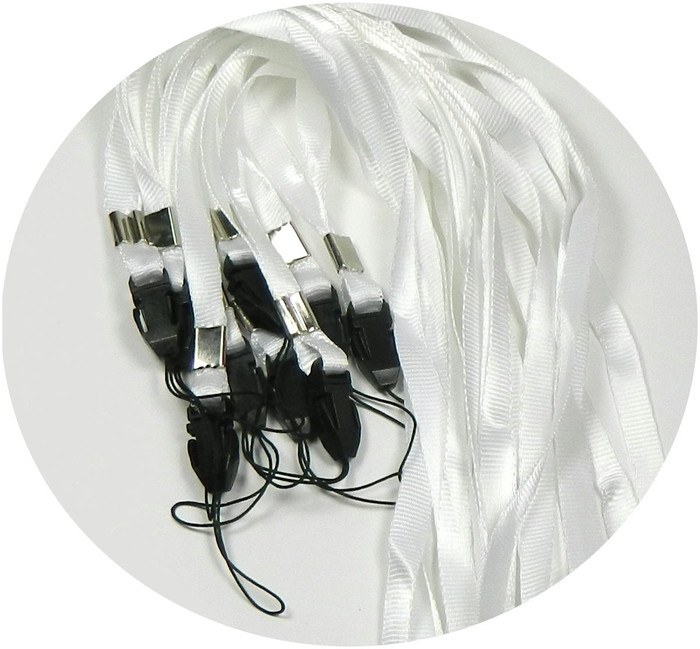50 White Neck Strap Lanyard for Id Card or Cell Phone 36 Inch Long