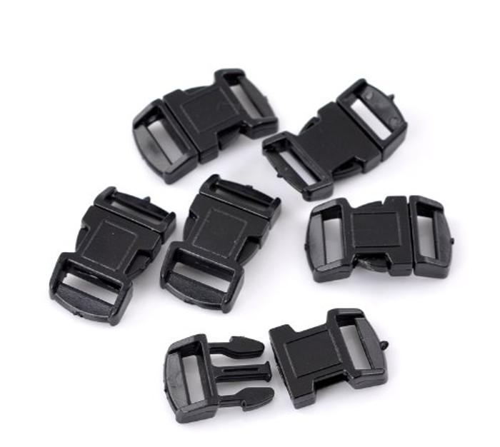 """50 Sets Black Para Cord Survival Bracelets Plastic Buckle 1 1/8""""x 5/8"""" Findings"""