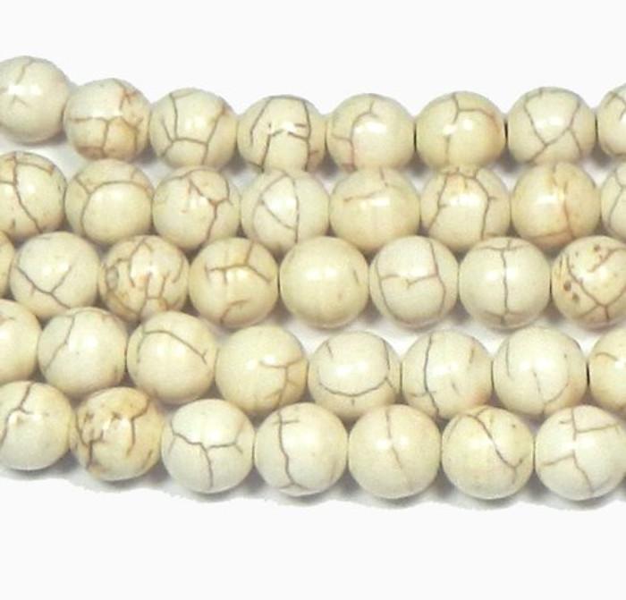 "12mm Magnesite White Buffalo Round Beads 15"" Loose Strand"