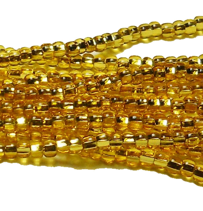 Gold Topaz Silver Lined Czech 6/0 Seed Bead on Loose Strung 6 String Hank