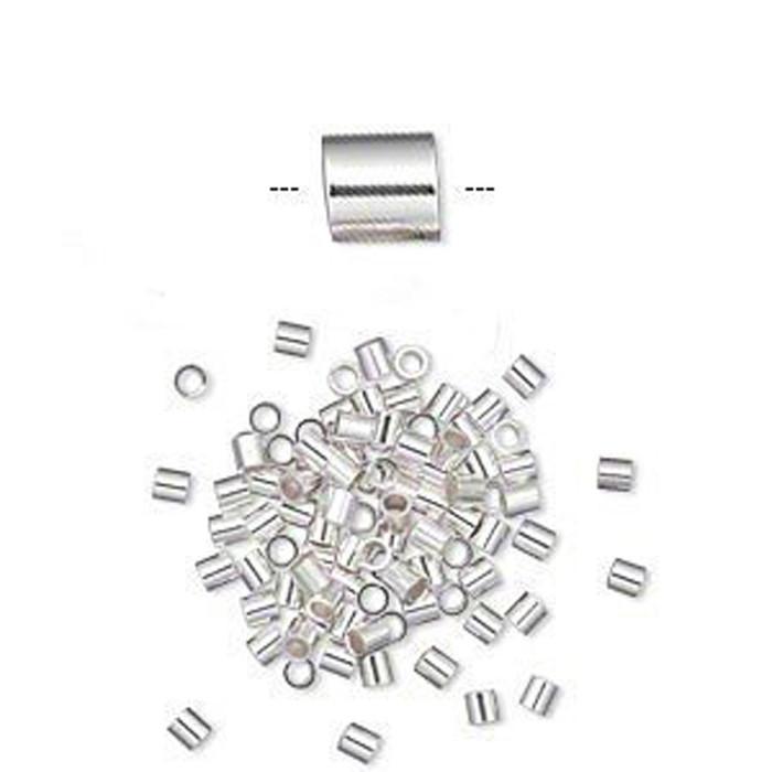 Crimp Bead Sterling Silver 2x2mm Cut Tube 1 1mm Inside Diameter 100 925 Silver